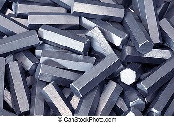 a, 堆, ......的, 六角形, 金屬, 細節