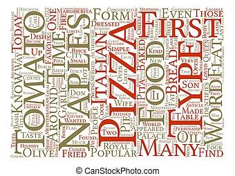 a, 報告書, 歴史, の, ピザ, ∥, 皿, それ, 征服された, 世界, テキスト, 背景, 単語, 雲, 概念
