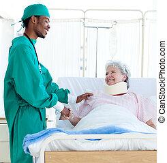 a, 外科醫生, 關懷, a, 病人