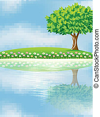 a, 大的樹, 近, the, 河