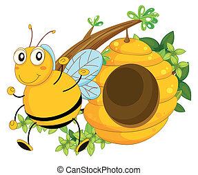 a, 大, 蜜蜂, 近, the, 蜂窩