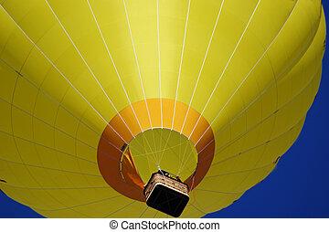 a, 大, 黃色, 熱空氣汽球