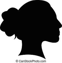 a, 夫人, 頭, 黑色半面畫像