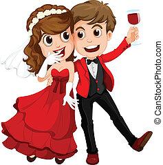 a, 夫婦, 誰, 僅僅, 得到, 結婚