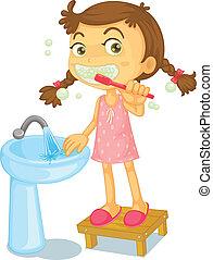 a, 女の子, ブラシをかける 歯