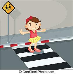 a, 女の子, 中に, ∥, 歩行者, 車線