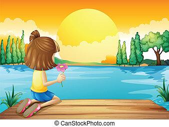 a, 女の子, 保有物, a, 花, 表面仕上げ, ∥において∥, ∥, 川
