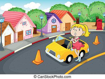 a, 女孩, 带, 汽车