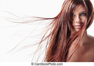 a, 女孩, 由于, 長的頭髮麤毛交織物