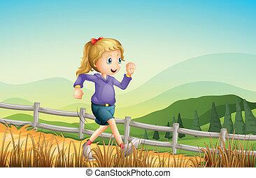 a, 女孩, 跑, 在, the, 農場