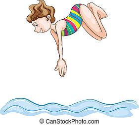 a, 女孩, 跳水, 進, 水