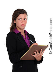 a, 女性実業家, 取得, ノート。