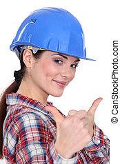 a, 女性, 建設工人, 由于, 兩個都, 拇指, 向上。