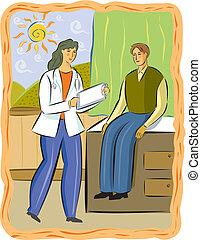 a, 女醫生對一位男的病人交談