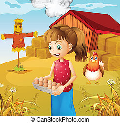 a, 女, 収穫する, 卵