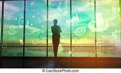 a, 女, 腕時計, チャート, そして, データ, の, ビジネス, プロセス
