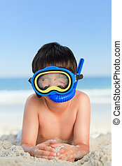 a, 小さい 男の子, 浜