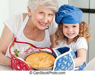 a, 小女孩, 由于, 她, 祖母, 看照像機