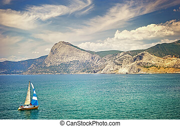 a, 小船, 在, the, 海灣, ......的, sudak