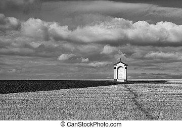 a, 小, 教堂, 在中間, ......的, 領域