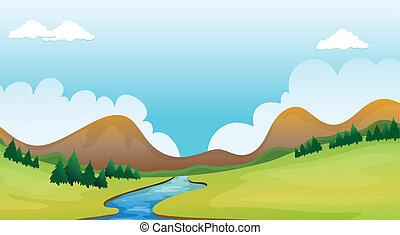 a, 川, そして, a, 美しい, 風景