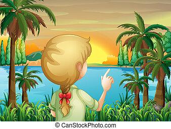 a, 年輕婦女, 觀察, the, 河