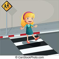 a, 年輕的女士, 橫過, the, 行人, 車道