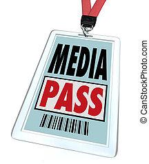 a, 徽章, 以及, lanyard, 閱讀, 媒介, 通行證, 給, a, 新聞工作者, 或者, 記者, 特別,...