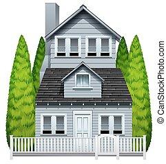 a, 房子, 由于, a, 柵欄