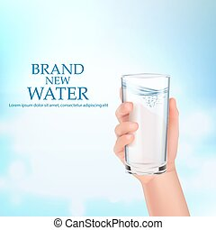 a, 手, 握住, a, 玻璃, ......的, water.