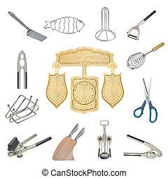 a, 拼貼藝術, ......的, 廚房, 工具