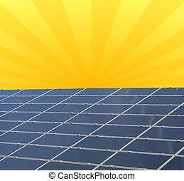 a, 描述, 在中, a, 太阳的面板, 对, 阳光充足, 天空