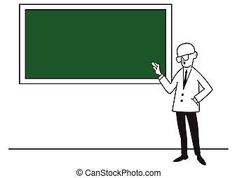 a, 教師, ∥において∥, ∥, 学校, 板