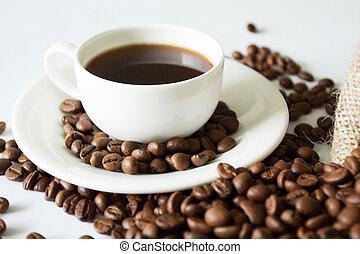 a, 杯咖啡, 在桌子上