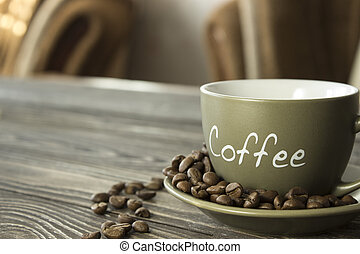 a, 杯咖啡, 由于, 五穀, 上, a, 木製的桌子, 在, the, 休息室