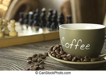 a, 杯咖啡, 由于, 五穀, 上, the, 背景, ......的, a, 棋盤