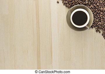 a, 杯咖啡, 由于, 咖啡豆, 上, a, 木制, 桌子。