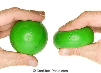 a, 株, 写真, の, a, 人間の手, 絞ること, a, 緑, ストレス, ball.