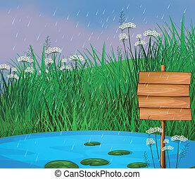 a, 池, そして, ∥, 木製である, 看板