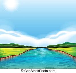 a, 流れること, 川