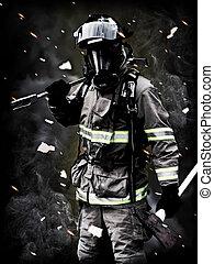 a, 消防士, ポーズを取る, 後で, a, 長い間, fi