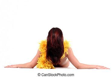 a, 無遮蓋的婦女, 由于, 黃色的羽毛, 圍巾, 放下, 在懷特上, 背景