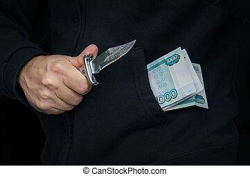 a, 犯罪者, ∥で∥, a, ナイフ, 中に, 彼の, 手, そして, ロシア人, お金, 中に, あなたの, pocket.