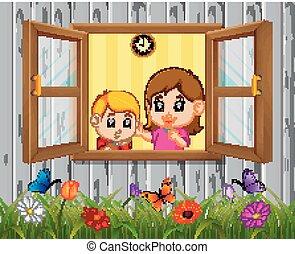 a, 男の子, そして, 母, 窓