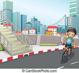 a, 男の子, biking, ∥において∥, ∥, 道