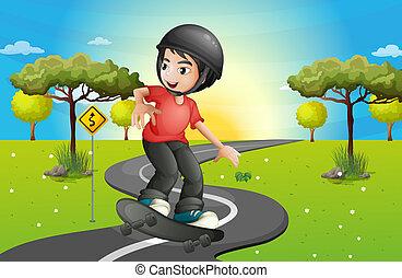 a, 男の子, skateboarding, ∥において∥, ∥, 道