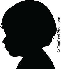 a, 男の赤ん坊, 頭, シルエット, ベクトル