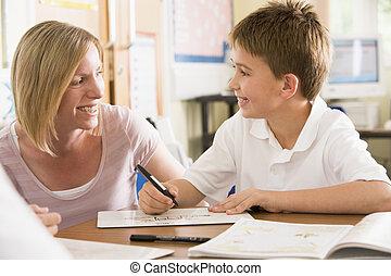 a, 男生徒, モデル, ∥で∥, 彼の, 教師, クラスで