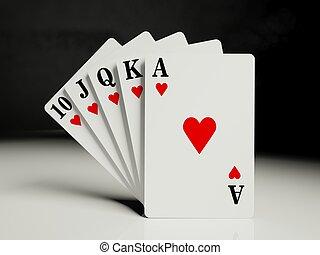a, 皇家, 直的奔流, 纸牌, 扑克牌手