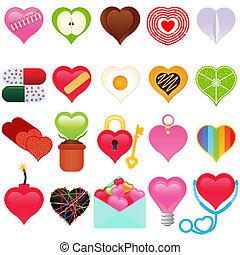 a, 矢量, 收集, 在中, valentine